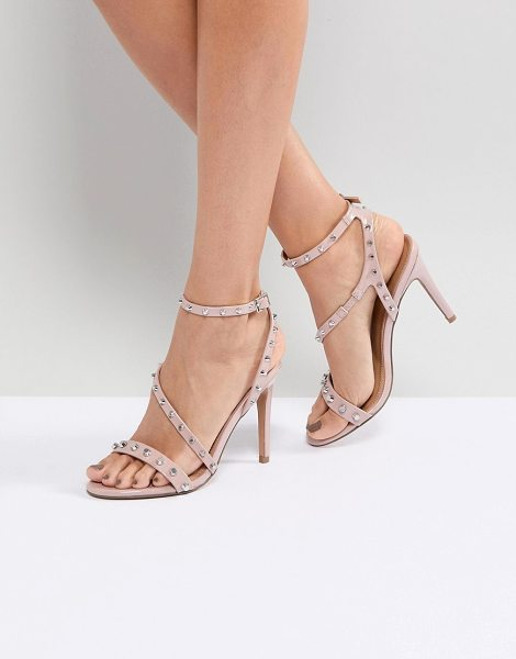 Asos HACKER Studded Heeled Sandals in nudepatent - Heels by ASOS Collection, Ankle-strap fastening, Strappy...