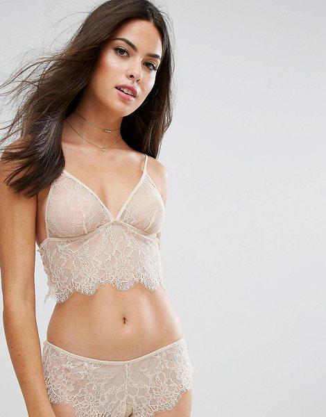 Asos Hailey Longline Lace Triangle Bra in beige