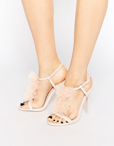 ASOS HAILSTONE Heeled Sandals in pink - Heels by ASOS Collection, Smooth upper, Frill detail,...