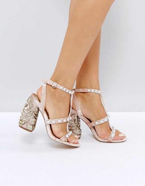 Asos hall of fame embellished heeled sandals in pink