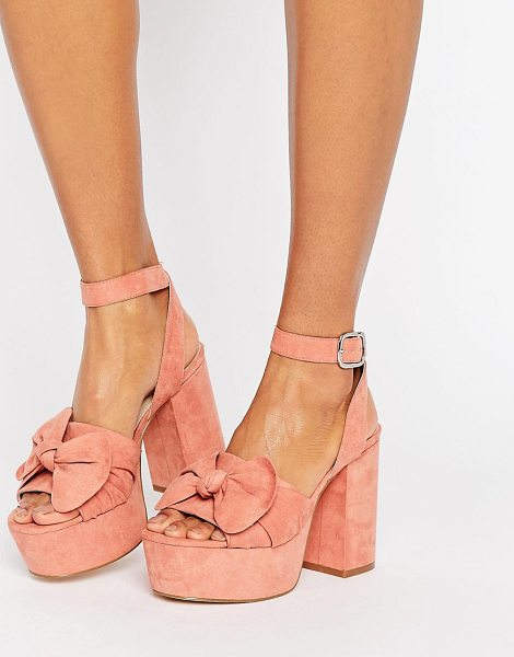Asos HALO Platform Bow Sandals in pink - Sandals by ASOS Collection, Textile upper, Ankle-strap...