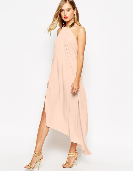 Asos Halter swing maxi dress with gold necklace in nude