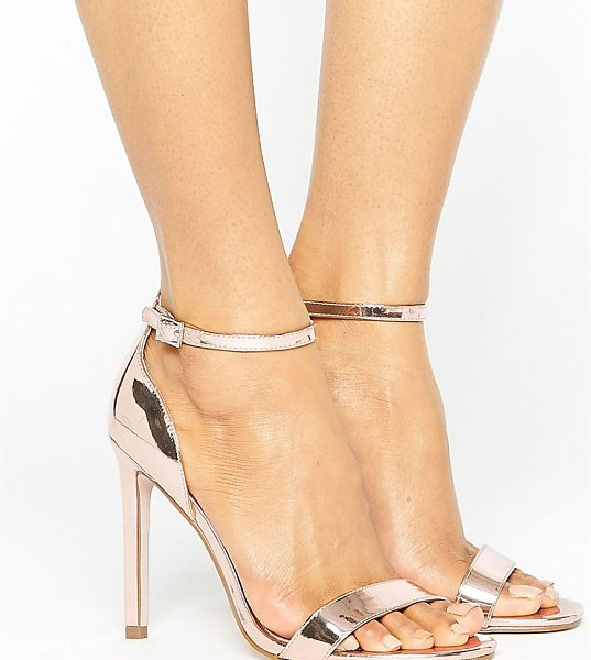 "Asos HANG TIME Barely There Heeled Sandals in gold - """"Sandals by ASOS Collection, Smooth metallic upper,..."