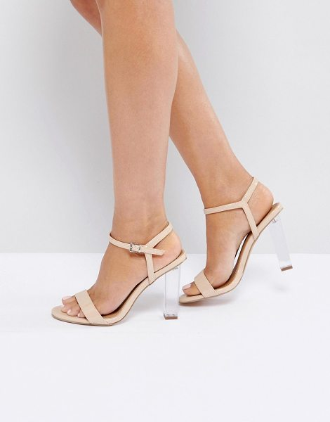 "Asos hansel clear heeled sandals in nudepatent - """"Heels by ASOS Collection, Patent faux-leather upper,..."