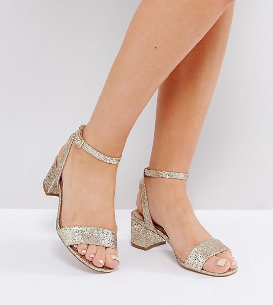 "Asos HAPPENING Wide Fit Mid Heeled Sandals in gold - """"Sandals by ASOS Collection, Glittered upper,..."