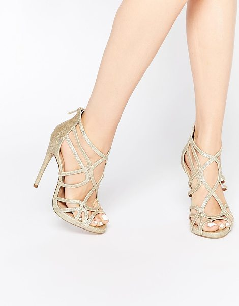 Asos HEARTBEAT Caged Heeled Sandals in gold - Heels by ASOS Collection, Gold-tone glitter upper, Zip...