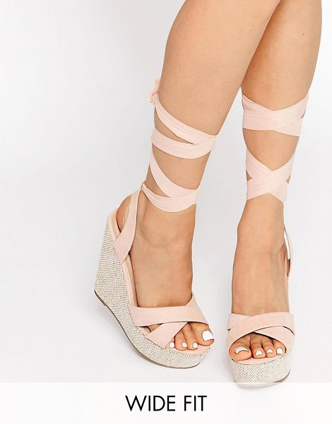 Asos HEARTFELT Wide Fit Wedges in beige - Wedges by ASOS Collection, Textile upper, Open toe,...