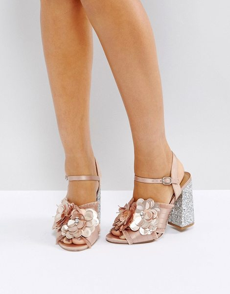 "ASOS HEATHER Floral Embellished Heeled Sandals in nudesatin - """"Heels by ASOS Collection, Textile upper, Floral..."