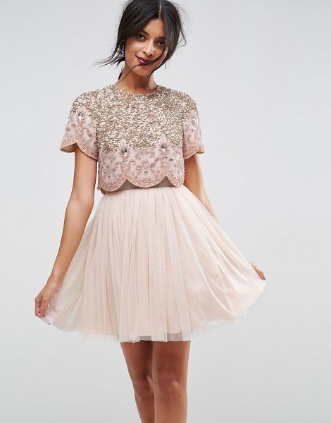 "Asos heavily embellished tulle mini prom dress in nude - """"Mini dress by ASOS Collection, Lined woven fabric,..."