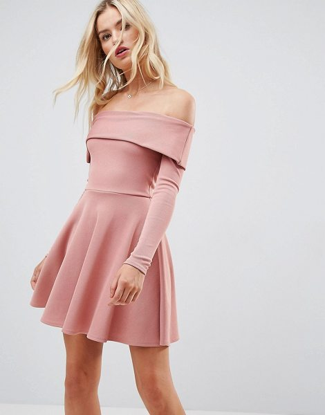 "ASOS DESIGN asos premium heavy rib bardot skater dress in duskypink - """"Dress by ASOS Collection, Stretch rib fabric, Bardot..."