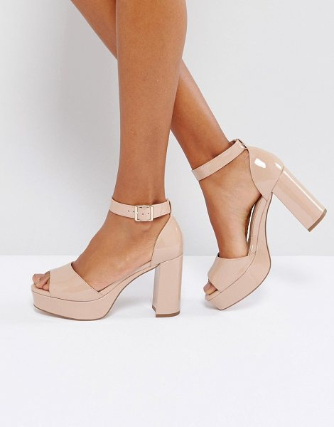 "Asos HEIDI Heeled Sandals in nudepatent - """"Heels by ASOS Collection, Patent upper, Ankle-strap..."