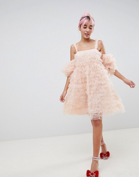 ASOS DESIGN hello kitty x  cold shoulder dress in pink - Dress by ASOS DESIGN, Designed in collaboration with...