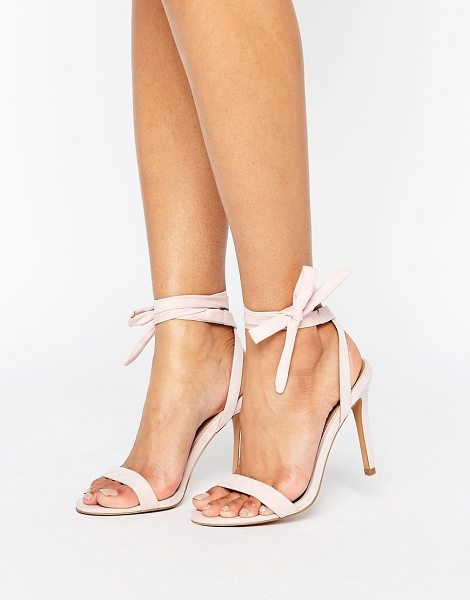 "Asos HENRIETTA Barely There Heeled Sandals in beige - """"Heels by ASOS Collection, Textile upper, Ankle-tie..."