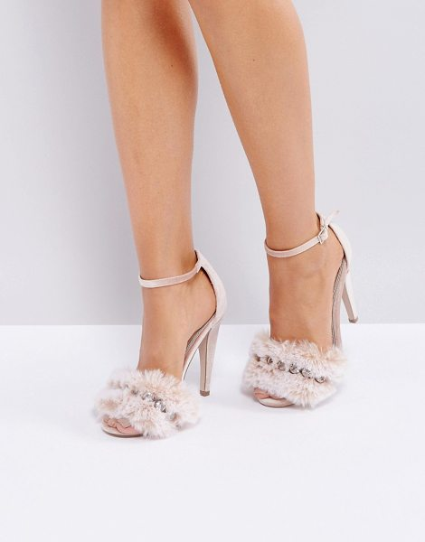 "ASOS DESIGN asos her majesty embellished heeled sandals in palepink - """"Heels by ASOS Collection, Textile upper, Ankle-strap..."