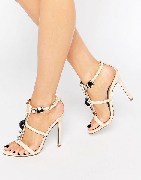 Asos HEXA Embellished Heeled Sandals in beige - Sandals by ASOS Collection, Faux-leather upper, T-bar...
