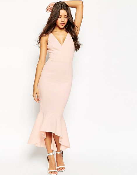 Asos High apex peplum hem midi dress in pink - Midi dress by ASOS Collection, Stretch scuba-style...