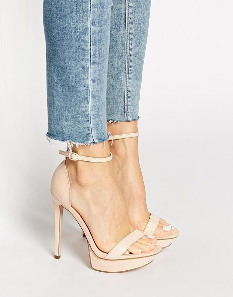 Asos HIGH CROSS Heeled Sandals in beige - Heels by ASOS Collection, Patent, leather-look upper,...