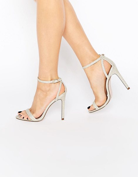 Asos High five heeled sandals in gold - Heels by ASOS Collection, Metallic gold-tone upper, Pin...