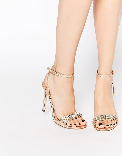 Asos HIGH IN THE SKY Heeled Sandals in beige - Sandals by ASOS Collection, Metallic, leather-look...