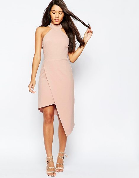 Asos High Neck Asymmetric Dress in pink - Body-Conscious dress by ASOS Collection, Stretch crepe...