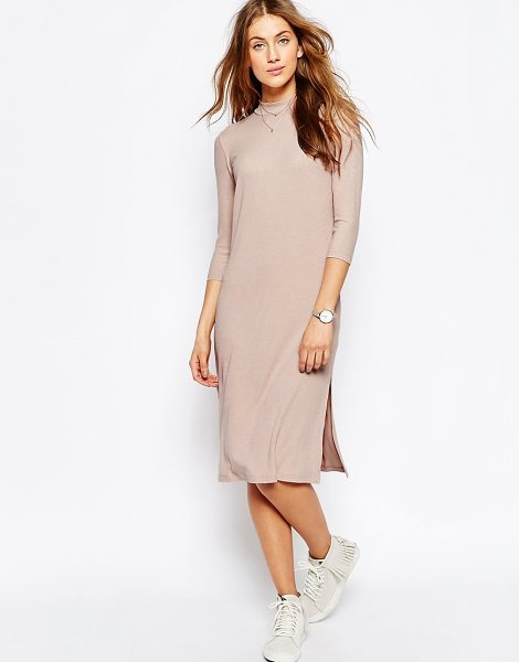 Asos High Neck Column Dress in Rib in pink - Dress by ASOS Collection, Ribbed jersey knit, Stretch...