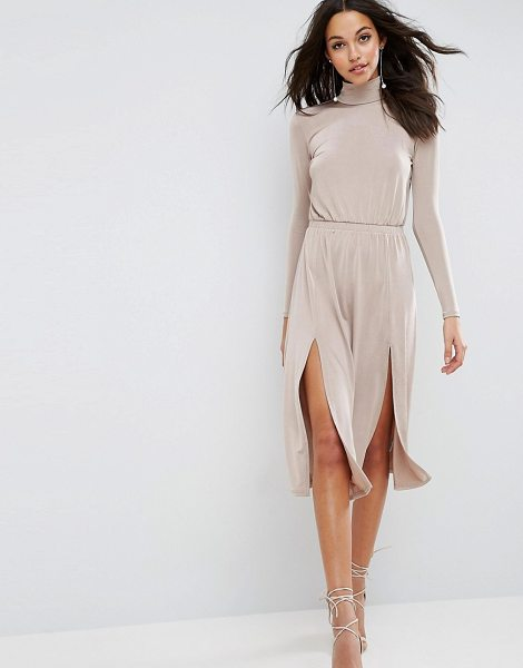 "ASOS High Neck Slinky Double Split Dress - """"Dress by ASOS Collection, Slinky stretch fabric,..."