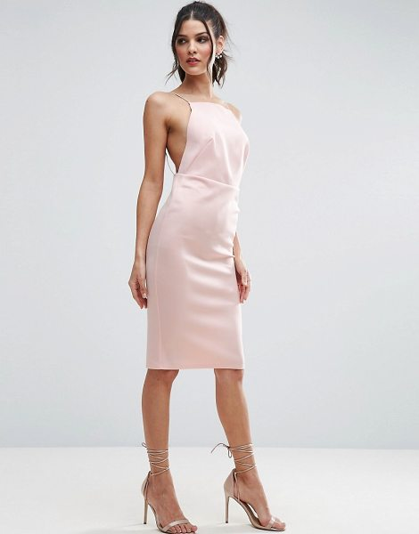 "ASOS DESIGN asos high neck strappy scuba midi bodycon dress in nude - """"Midi dress by ASOS Collection, Lightweight soft-touch..."