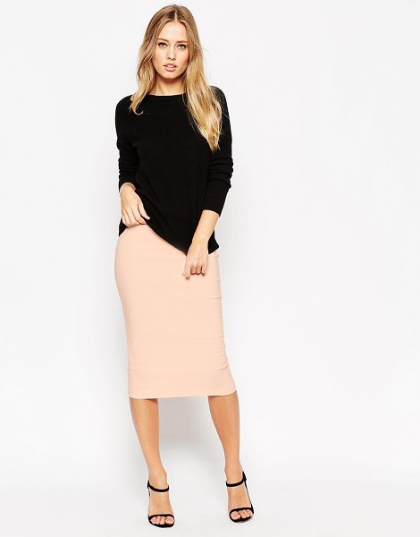 Asos High Waist Longerline Pencil Skirt in pink - Pencil skirt by ASOS Collection, Crisp woven fabric,...