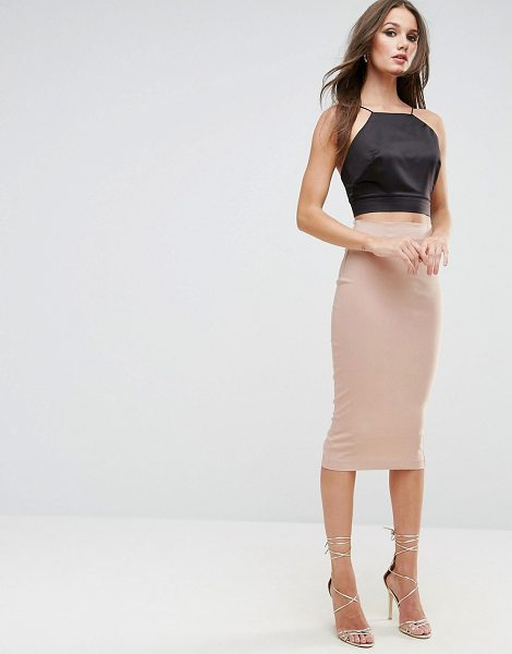 """Asos High Waist Longerline Pencil Skirt in stone - """"""""Pencil skirt by ASOS Collection, Stretch woven fabric,..."""