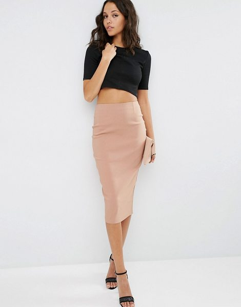 Asos High Waist Longerline Pencil Skirt in beige - Pencil skirt by ASOS Collection, Lightweight unlined...