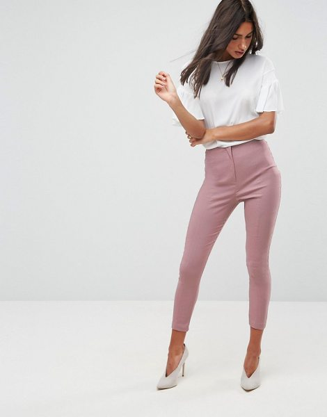 ASOS DESIGN high waist pants in skinny fit in nudepink