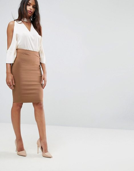 "Asos High Waisted Pencil Skirt in stone - """"Pencil skirt by ASOS Collection, Smooth woven fabric,..."