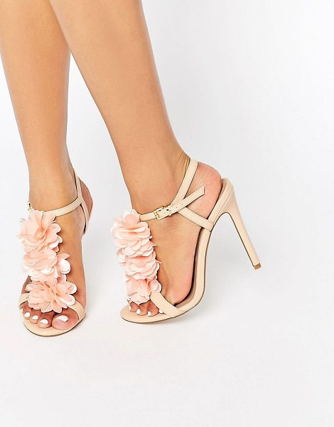 Asos HIT IT OFF Heeled Sandals in beige - Heels by ASOS Collection, Faux-leather upper, Frill...