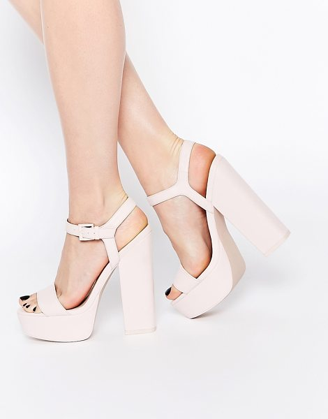 Asos HIT THE JACKPOT Platform Heeled Sandals in pink - Heels by ASOS Collection, Smooth leather upper, Pin...
