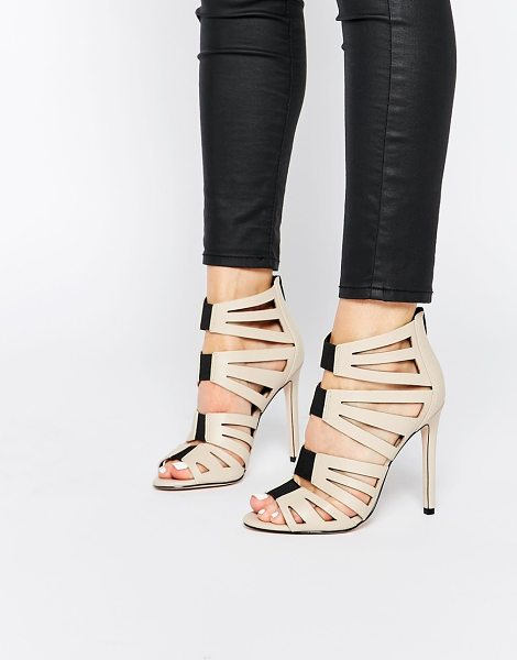 Asos HIT THE MARK Caged High Heels in beige - Heels by ASOS Collection, Smooth leather-look upper,...