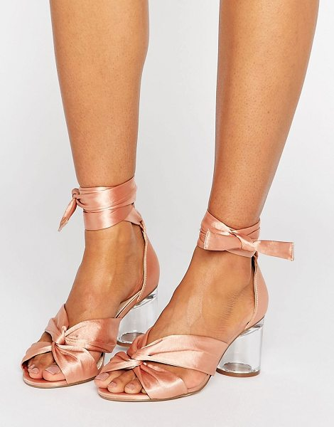 "ASOS DESIGN asos hollow heeled sandals in nudesatinclear - """"Sandals by ASOS Collection, Satin-style upper,..."