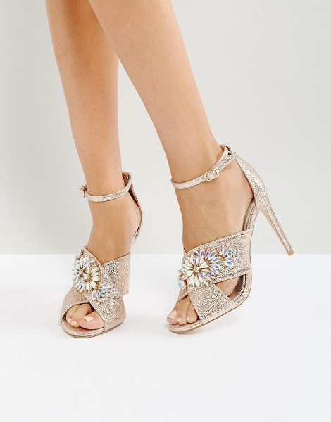 "Asos HOLY GRAIL Embellished Heeled Sandals in gold - """"Heels by ASOS Collection, Metallic upper, Embellished..."
