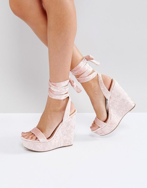 Asos HONDURAS High Wedge Sandals in beige - Wedges by ASOS Collection, Crushed velvet upper,...
