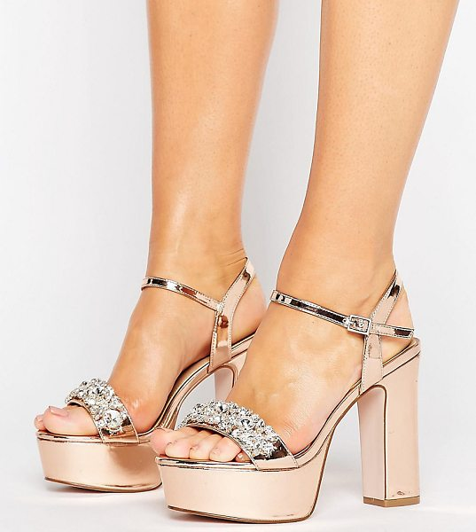 Asos HONEY POT Wide Fit Embellished Platforms in gold