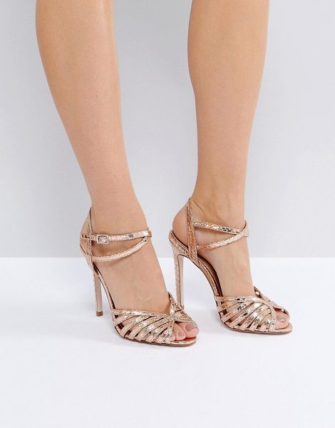 "Asos asos honeypie heeled sandals in nudemetallic - """"Heels by ASOS Collection, Textile upper, Metallic..."