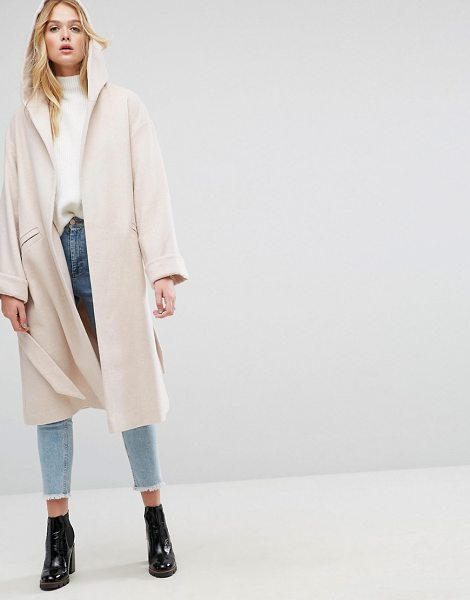 "ASOS DESIGN asos hooded belted shawl collar coat in pink - """"Coat by ASOS Collection, Wool-mix fabric, Lined..."