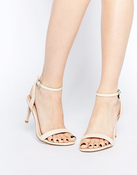 Asos Hooray wide fit heeled sandals in nude - Sandals by ASOS Collection Leather-look upper Matte...