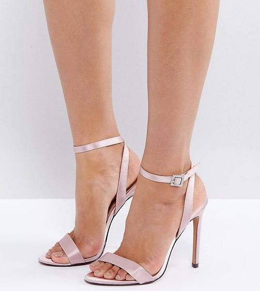"""Asos HOPEFUL Jewelled Buckle Heeled Sandals in beige - """"""""Heels by ASOS Collection, Satin upper, Ankle-strap..."""