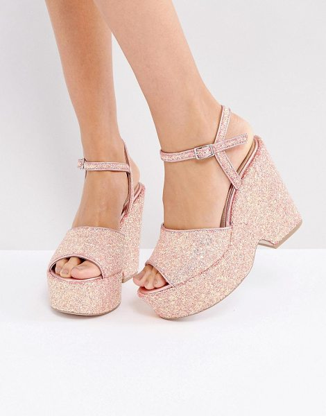 "Asos HORATIO Wedge Sandals in pink - """"Wedges by ASOS Collection, Glitter upper, Ankle-strap..."