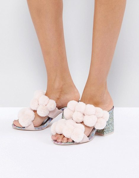 "Asos HOT TOPIC Pom Pom Heeled Sandals in pink - """"Sandals by ASOS Collection, Textile upper, Pom-pom..."