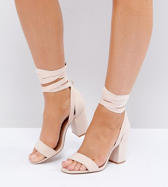 "Asos HOWLING Wide Fit Tie Leg Heeled Sandals in beige - """"Heels by ASOS Collection, Fabric upper, Tie leg..."
