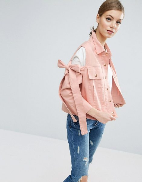 "Asos Jacket with Bow Cold Shoulder in pink - """"Denim jacket by ASOS Collection, Midweight non-stretch..."