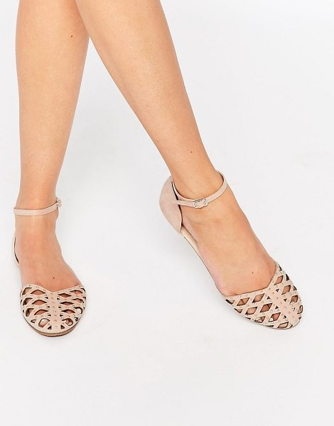 Asos JACQUI Two Part Stud Shoes in beige - Sandals by ASOS Collection, Smooth textile upper, Almond...