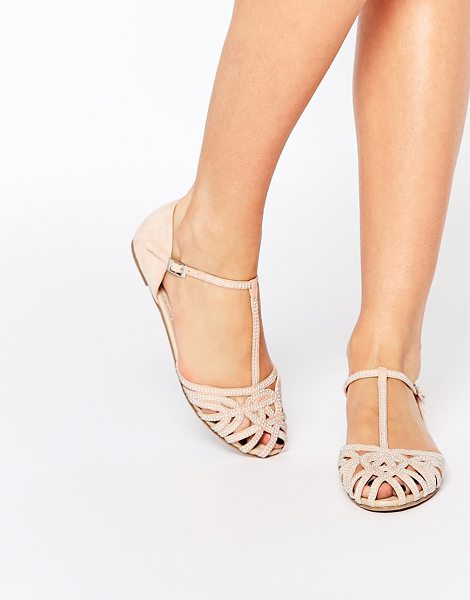Asos Janine embellished summer shoes in nude - Flat shoes by ASOS Collection, Embellished upper, T-bar...