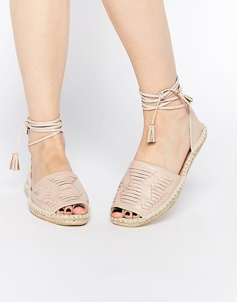 ASOS Java tie leg woven espadrilles - Shoes by ASOS Collection Leather-look upper Woven detail...